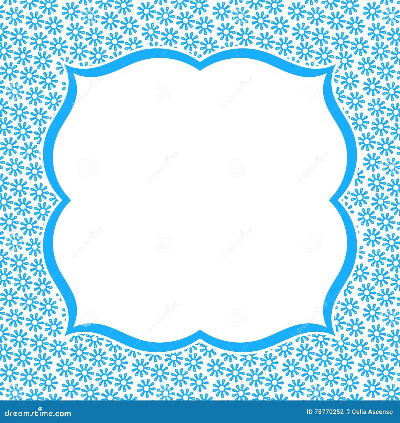 Blue Frame Border Flower Invitation Card Stock Illustration ...