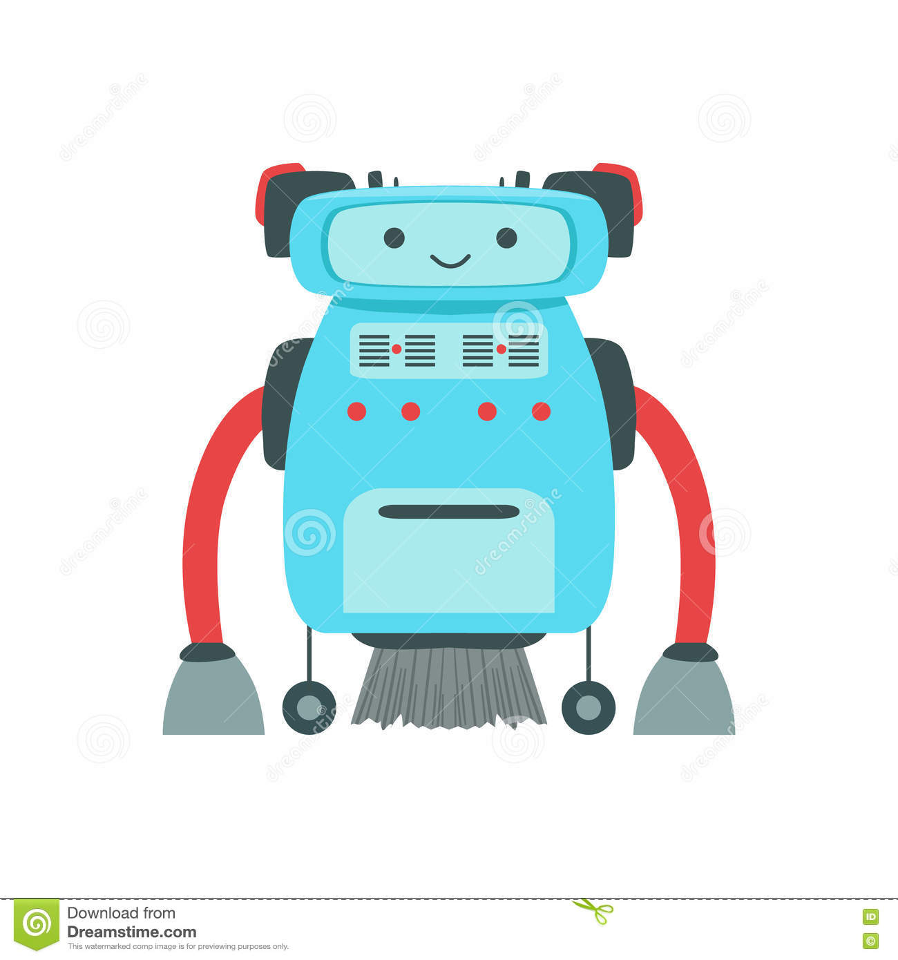Blue Friendly Android Robot Character With Hair Vector ...  Blue Friendly A...
