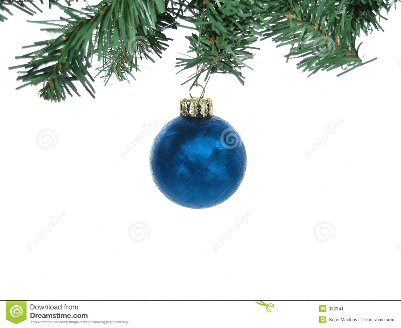 Frosted christmas ornaments - Blue Frosted Christmas Ornament With Branches Isolated