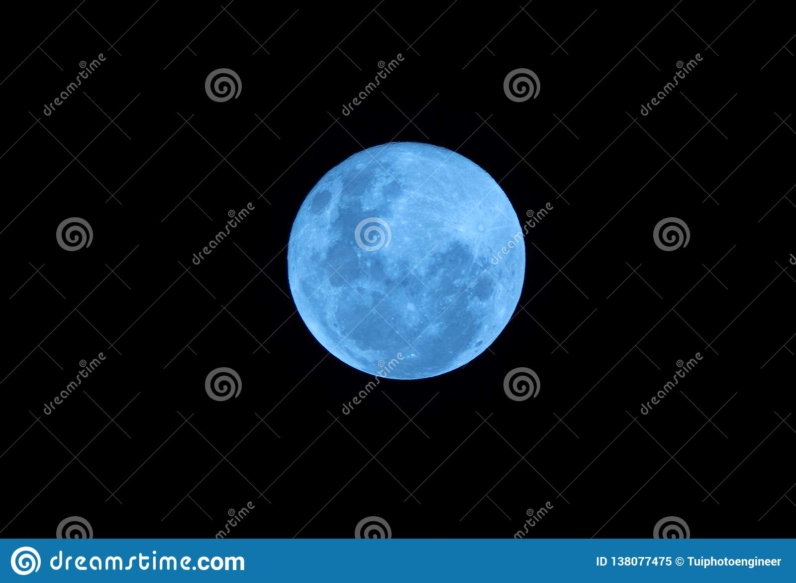 Blue Full moon on the dark night