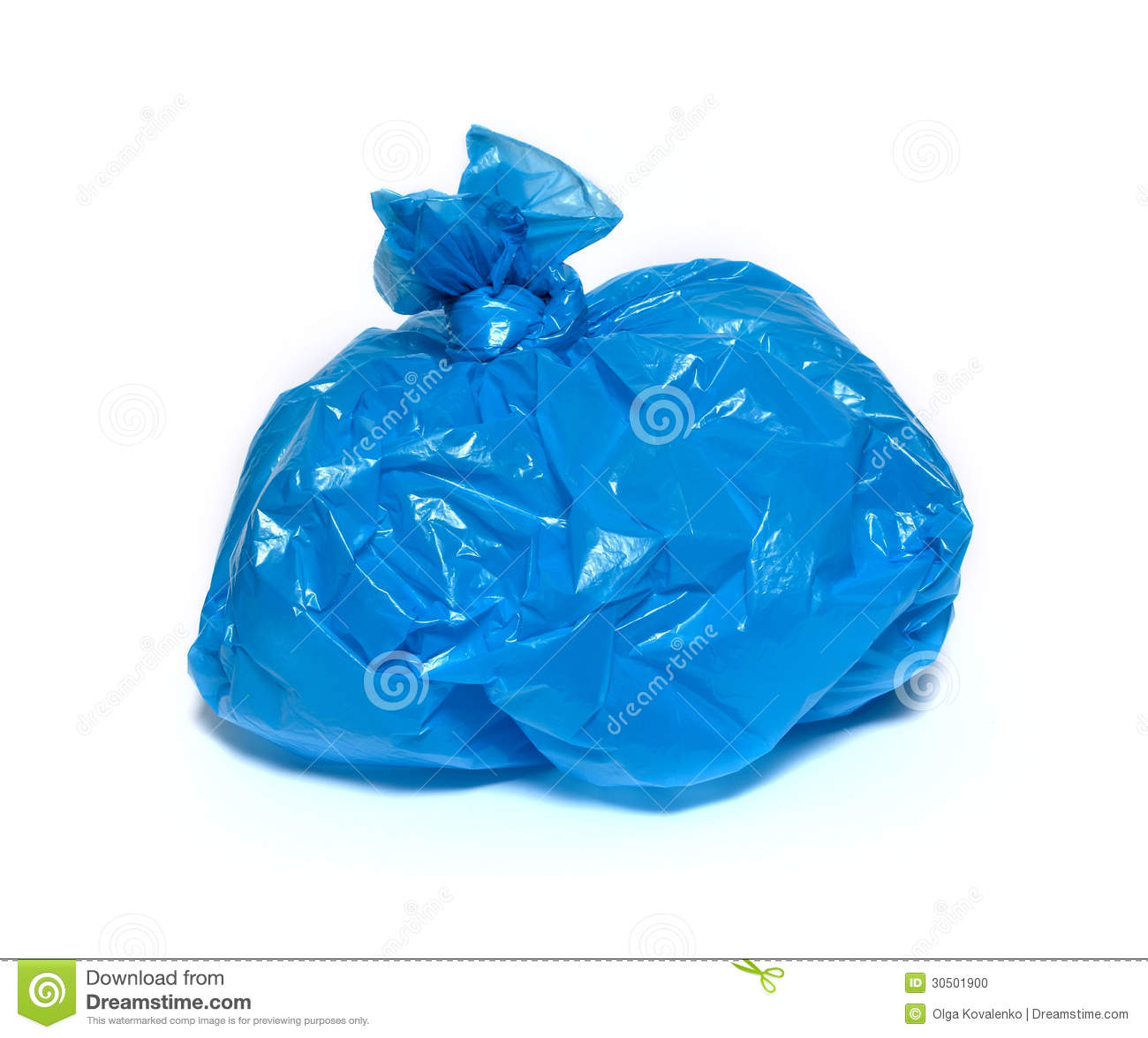 Blue garbage bag on a white background.