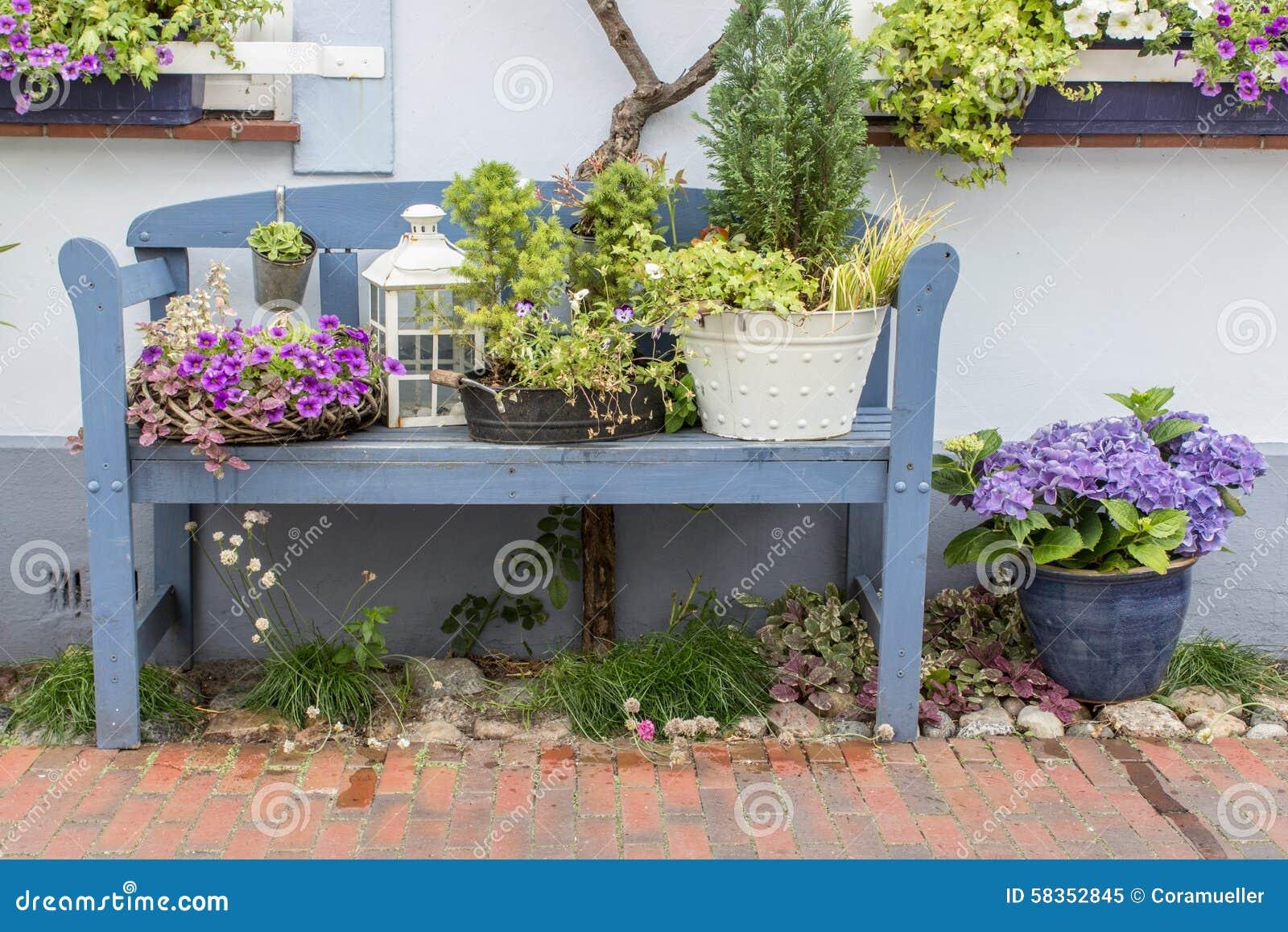 blue garden bench stock photo - image: 58352845