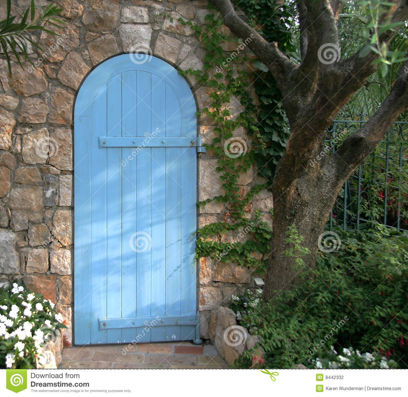 Blue Garden Door France Stock Photo Image Of Archway