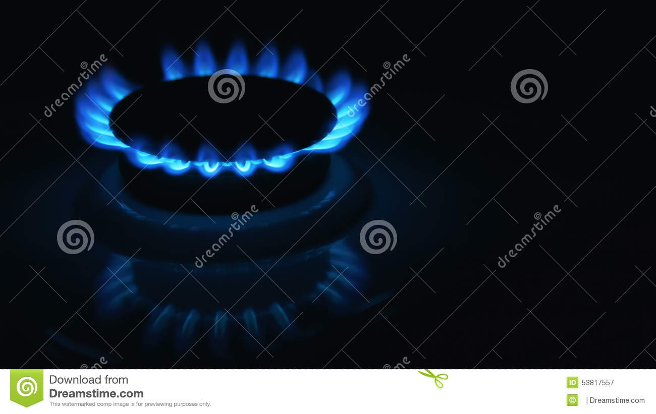 Blue gas stove in the dark stock video  Video of aura - 53817557