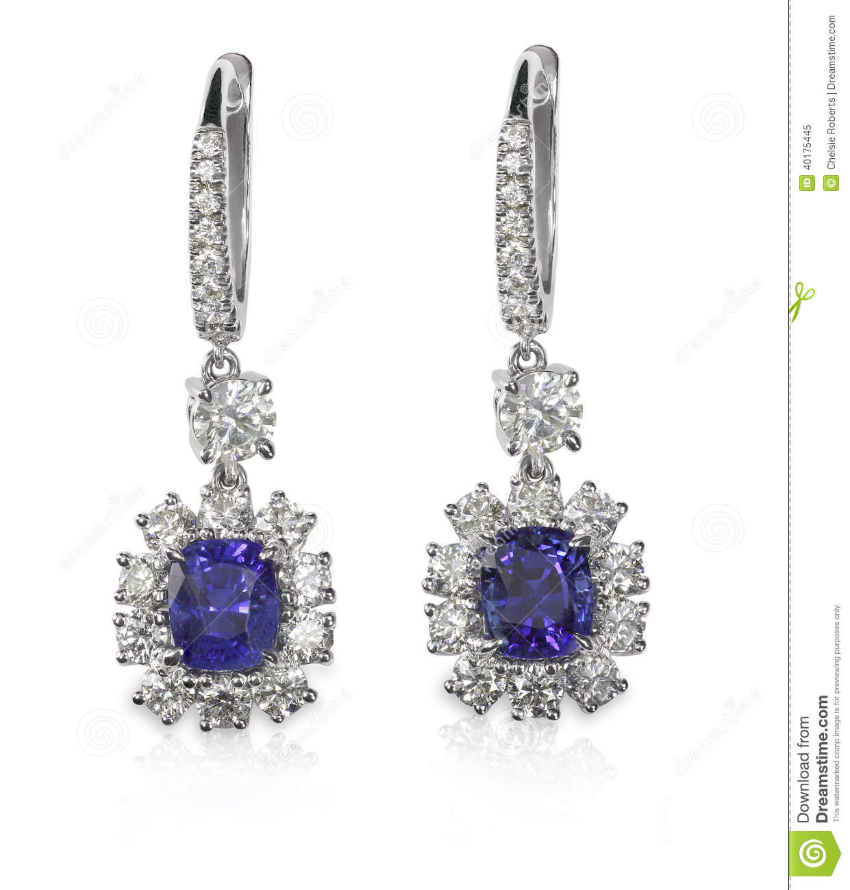 Blue gemstone and diamond earrings stock image image for Z s fine jewelry