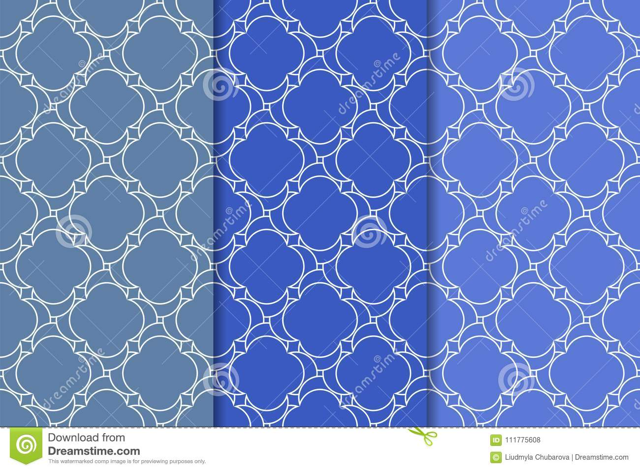 Blue geometric ornaments. Set of seamless patterns