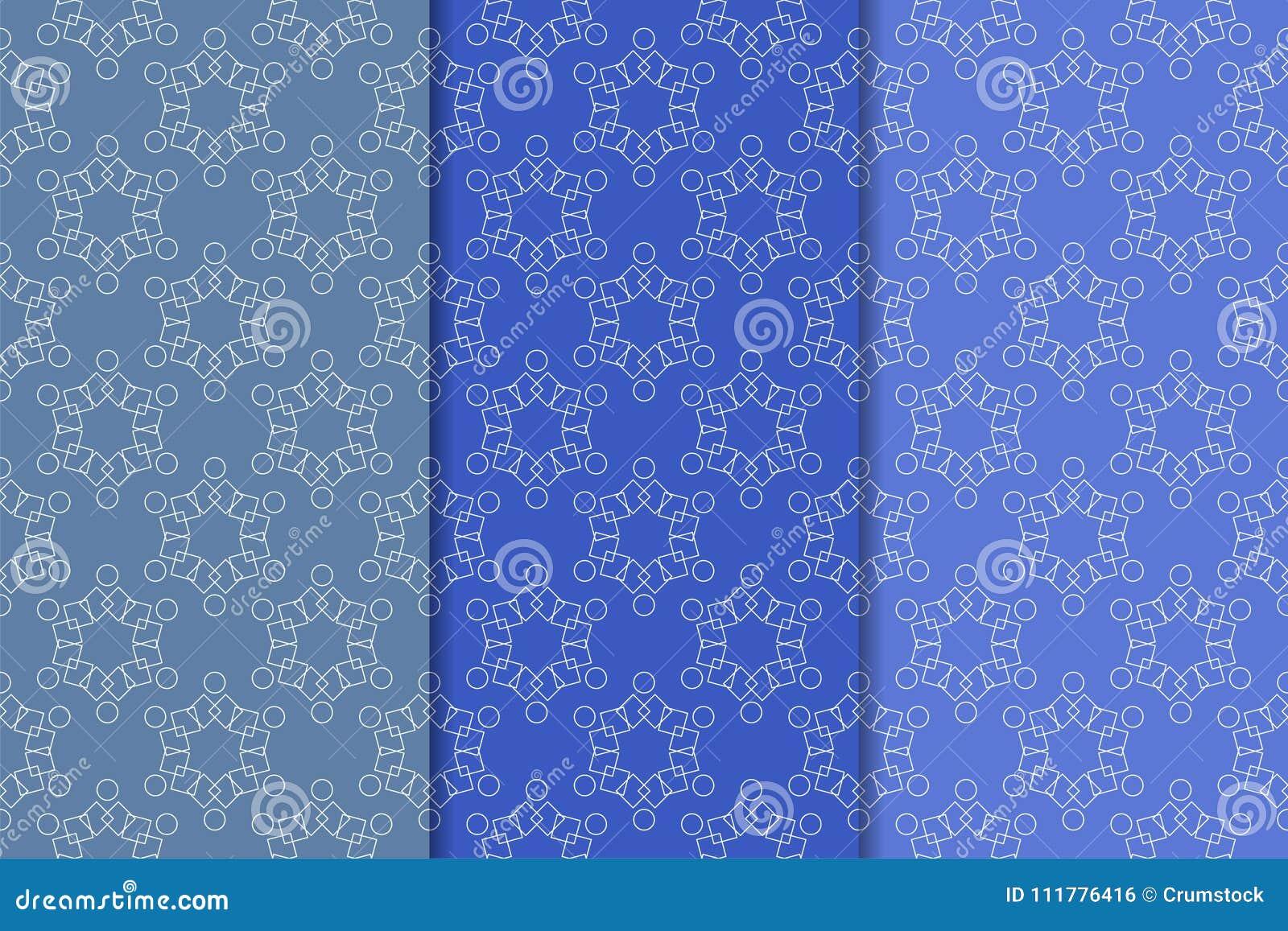 Blue geometric seamless patterns