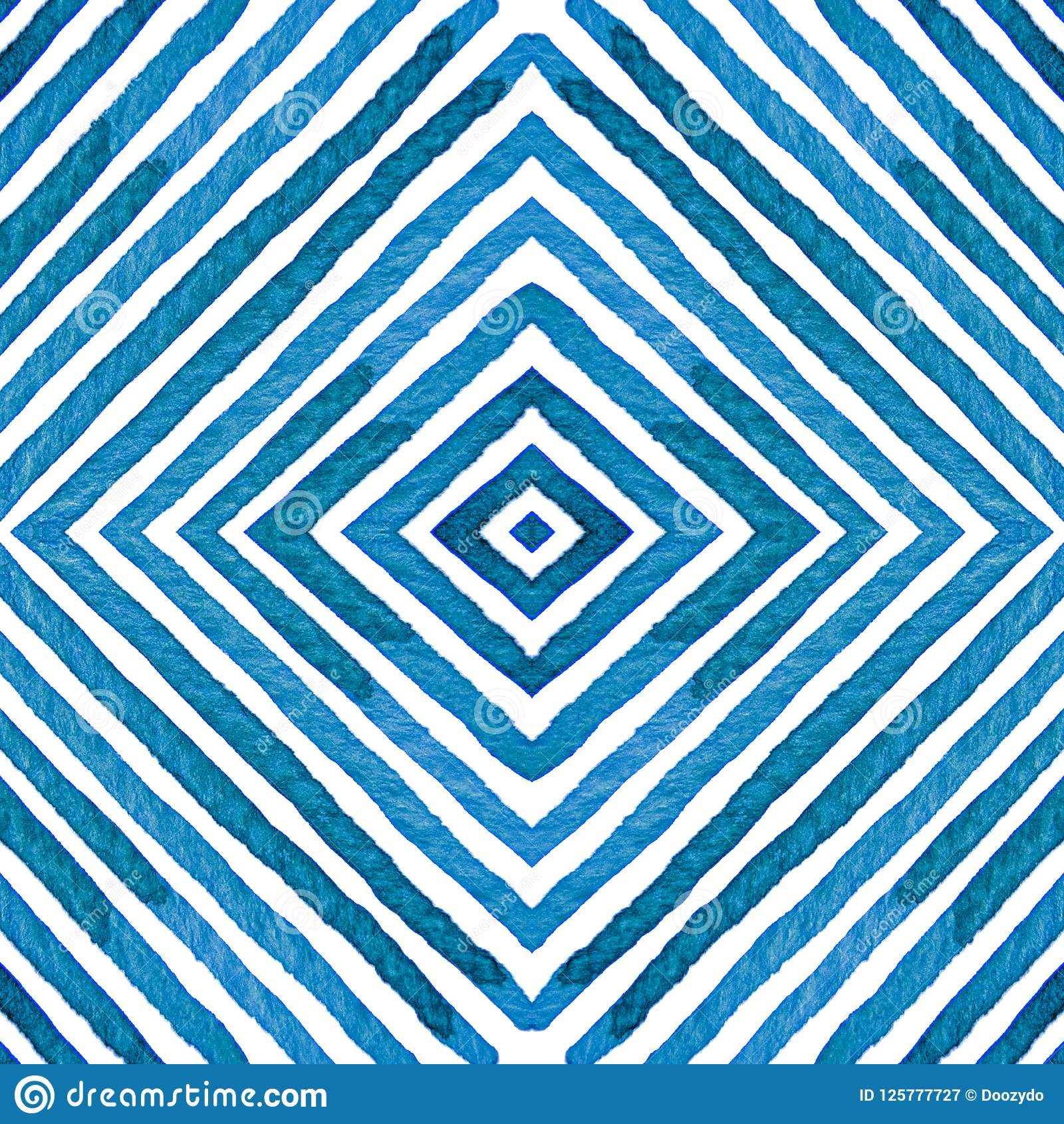 Blue Geometric Watercolor. Curious Seamless Pattern. Hand Drawn Stripes. Brush Texture. Outstanding