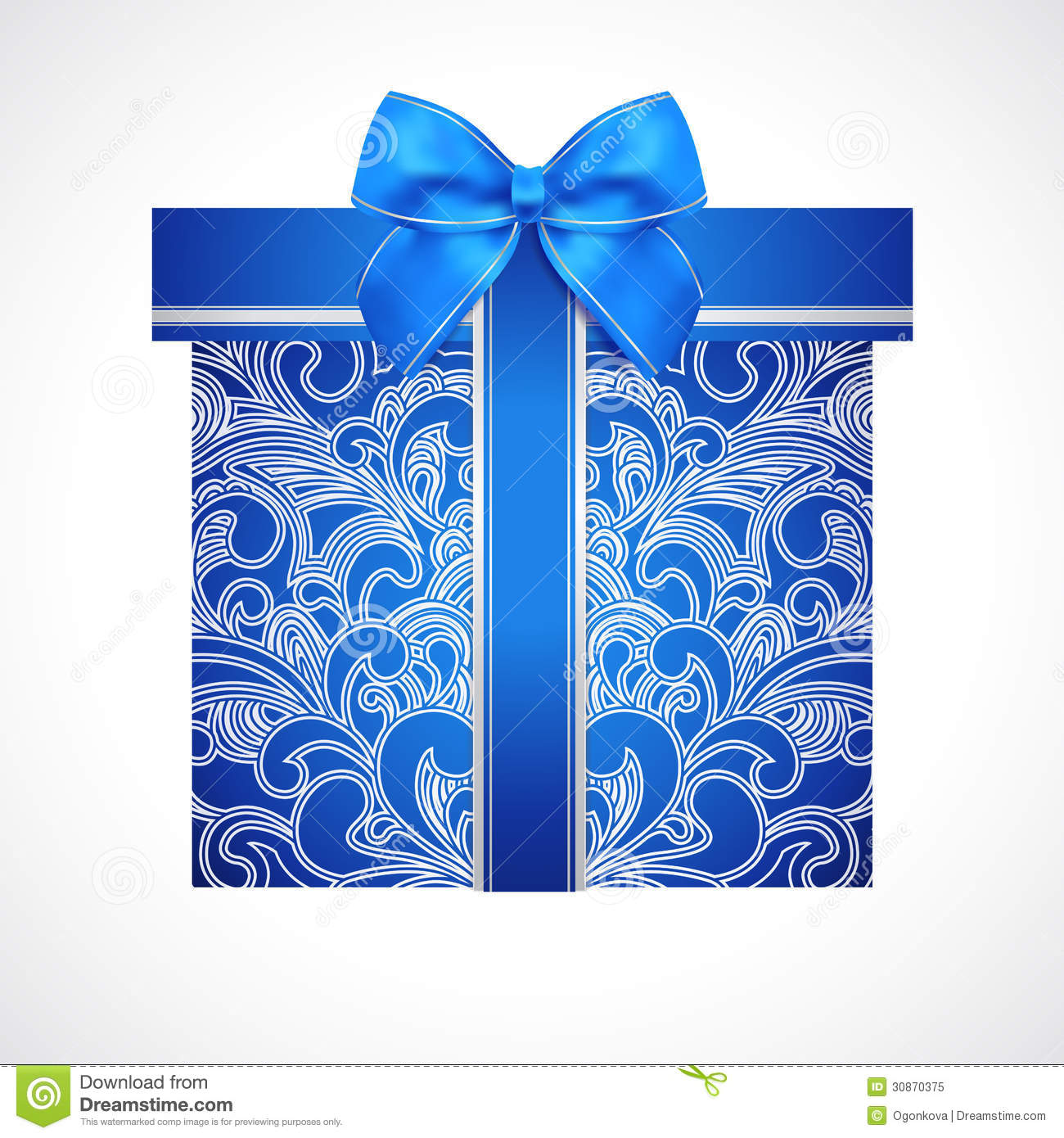 Blue Gift Box With Red Bow Ribbon Present Stock Vector