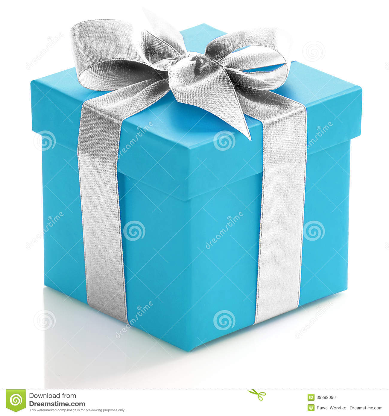 blue gift box with silver ribbon stock photo image 39389090. Black Bedroom Furniture Sets. Home Design Ideas