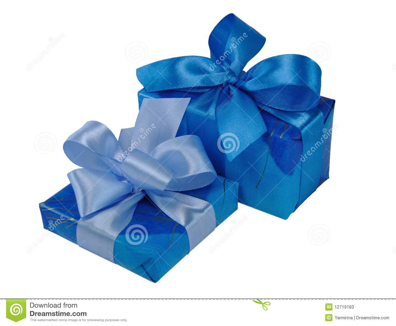 Blue gift boxes with bows stock image of surprise