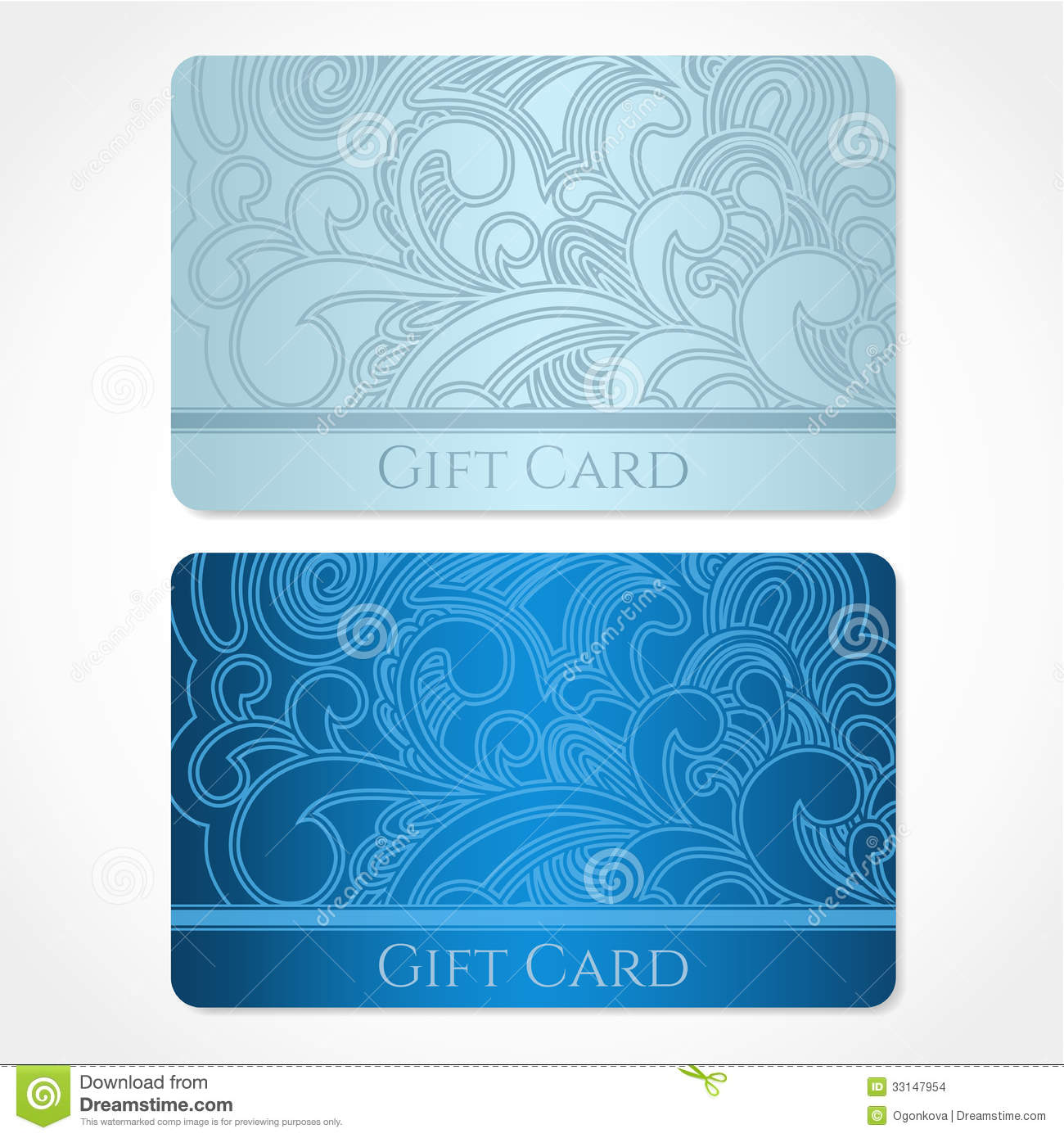 Blue Gift Card (discount Card, Business Card). Flo Stock Vector ...