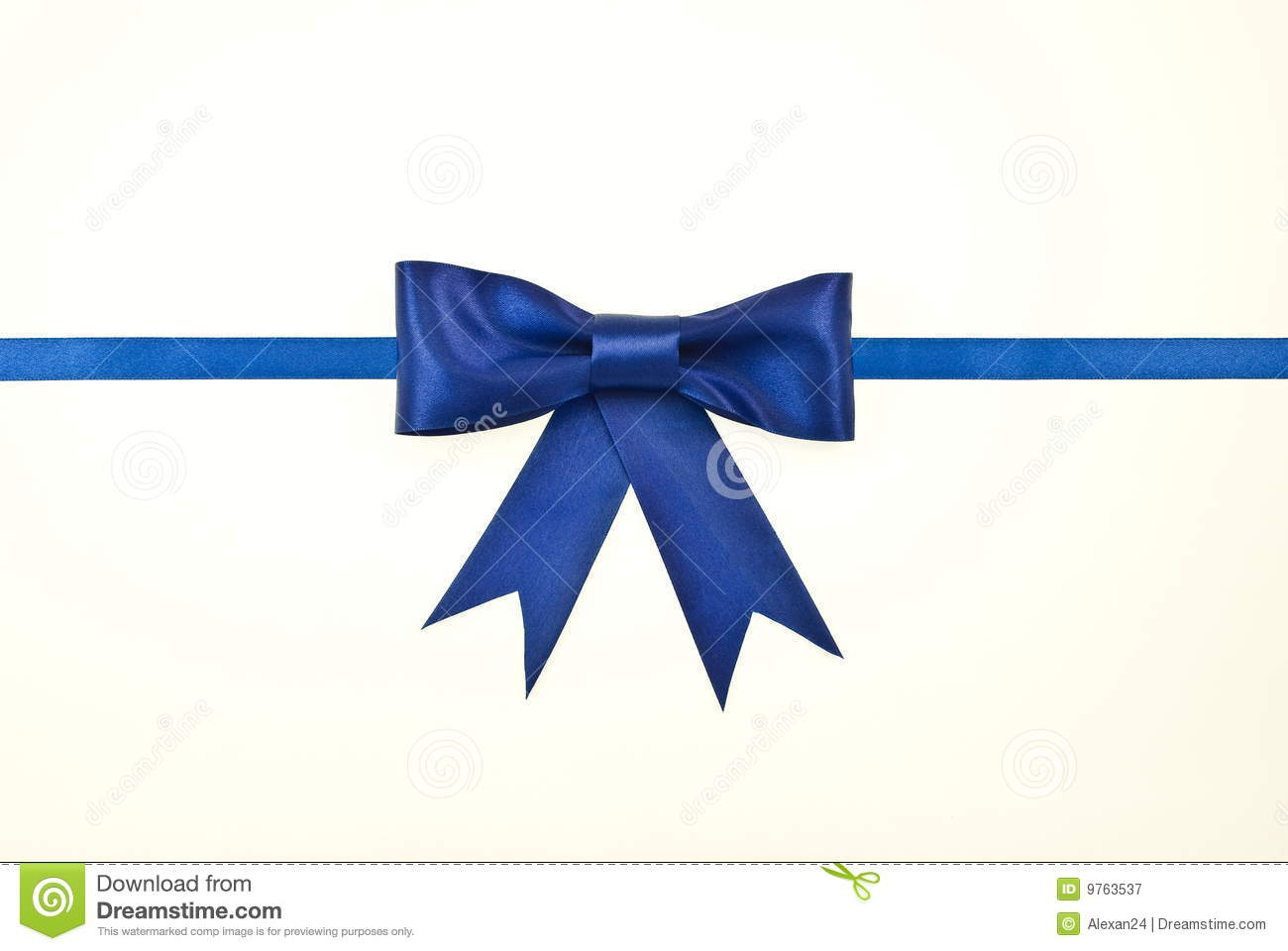 Blue Gift Satin Ribbon And Bow Royalty Free Stock Photography