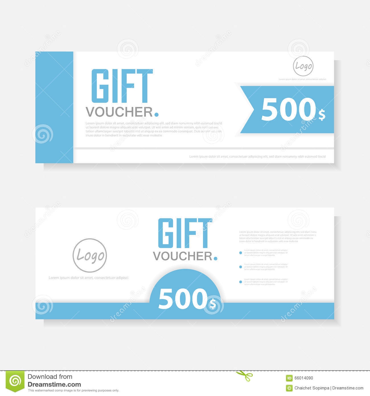Blue Gift Voucher Template With Colorful Patterncute Gift Voucher