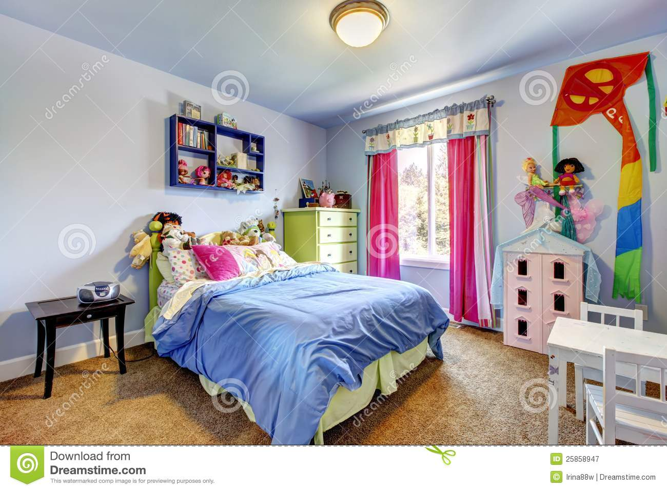 Blue Girls Bedroom Interior Child Room Royalty Free