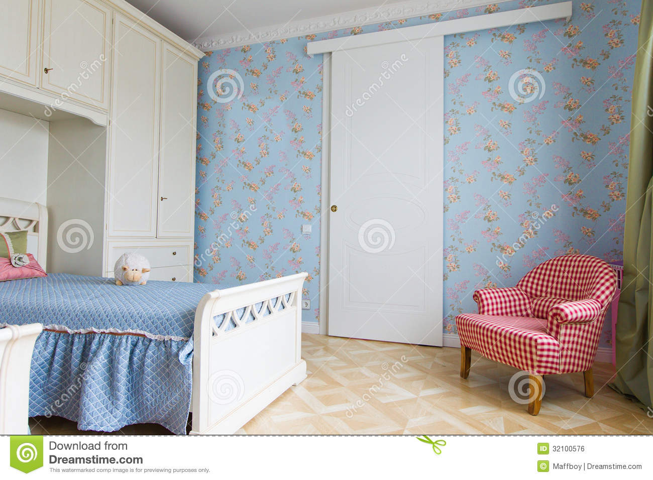 Blue Girls Bedroom Interior Stock Photo - Image of clean ...