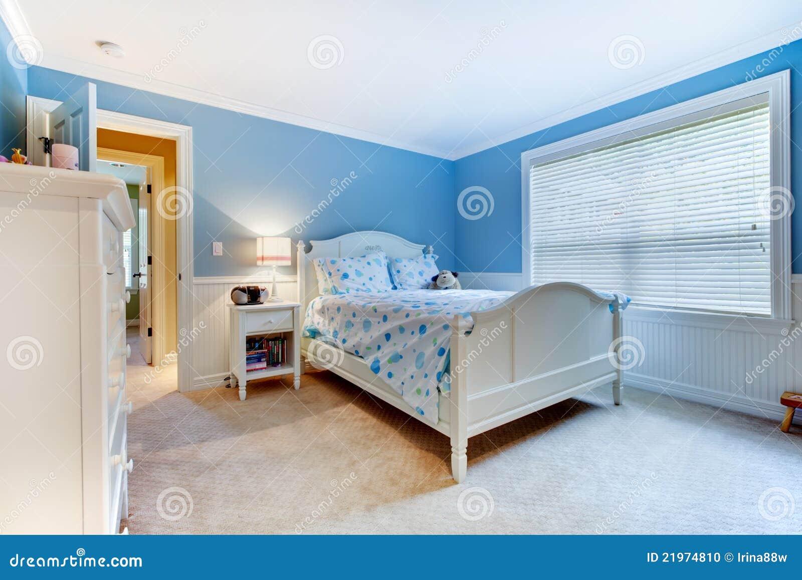 Blue Girls Kids Bedroom Interior Stock Photo Image 21974810