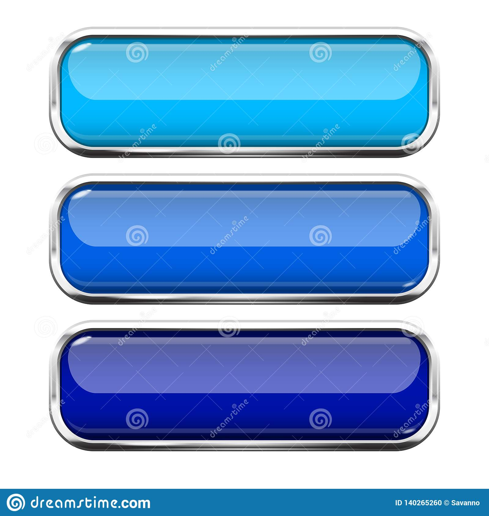 Blue glass buttons. Web 3d shiny rectangle icons with chrome frame