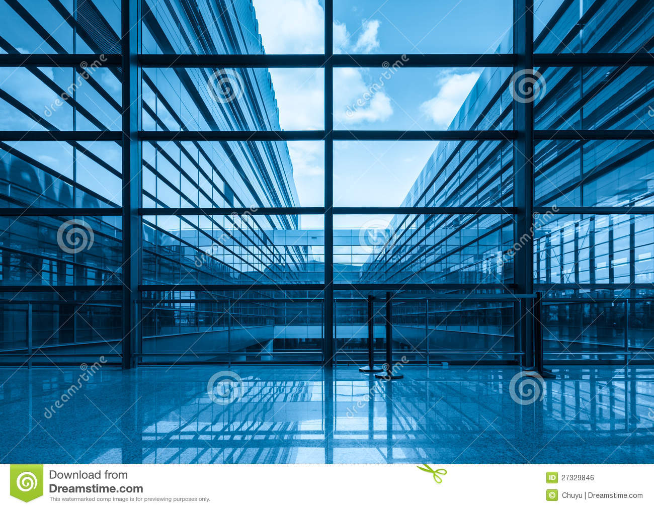 Blue Curtain Wall : Blue glass curtain wall and window royalty free stock