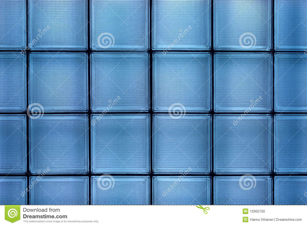 clean blue transparent textured square glass tile wall construction