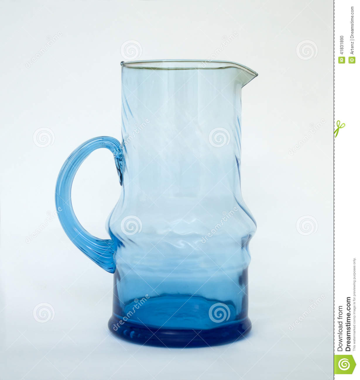 Blue Glass Water Pitcher Stock Photo Image Of Clear