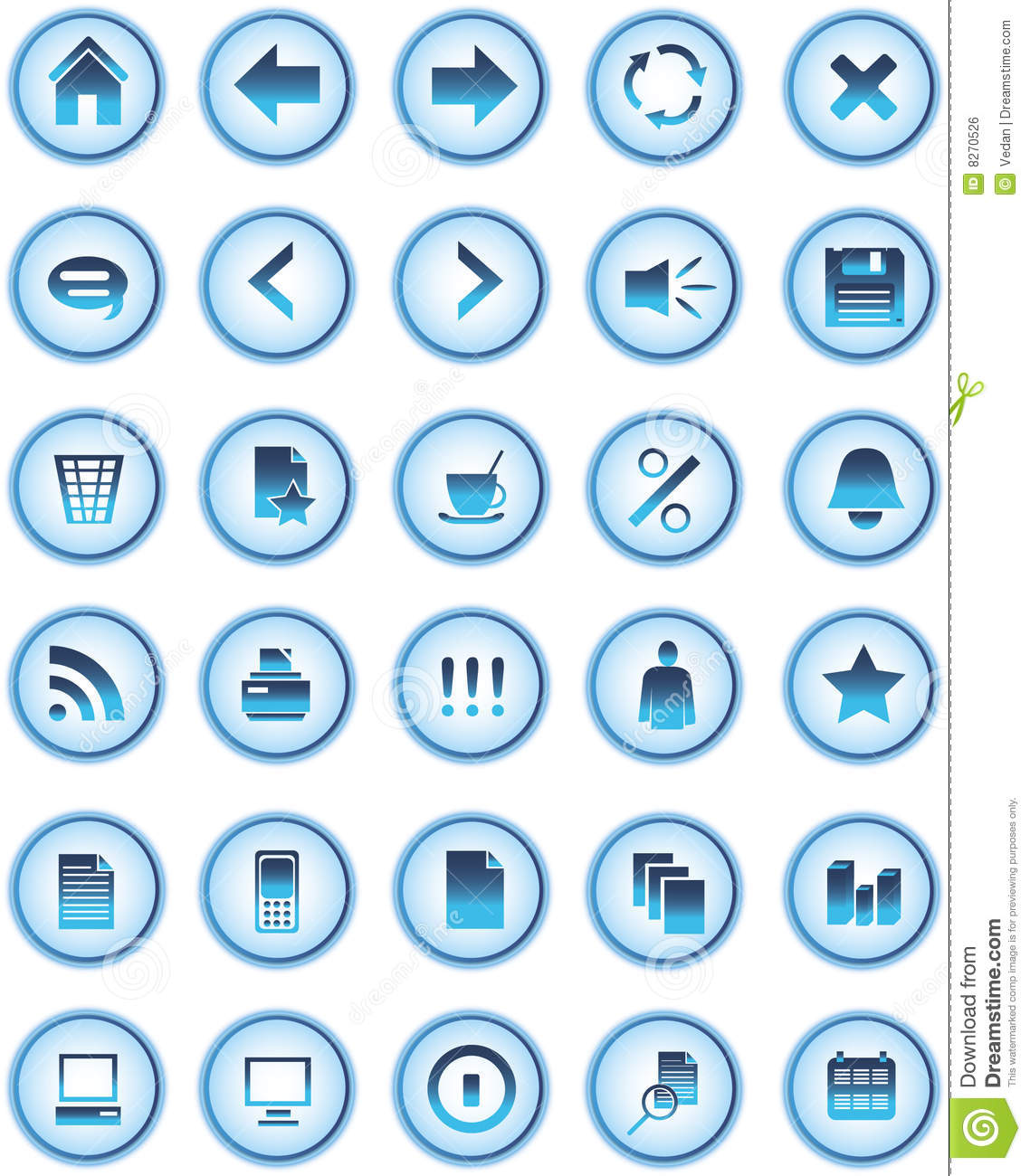 Blue Glass Web Icons, Buttons Royalty Free Stock Image - Image ...