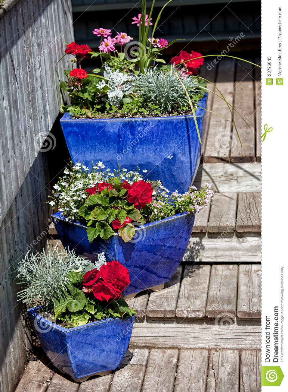 Blue Glazed Terracotta Planters Royalty Free Stock Photo