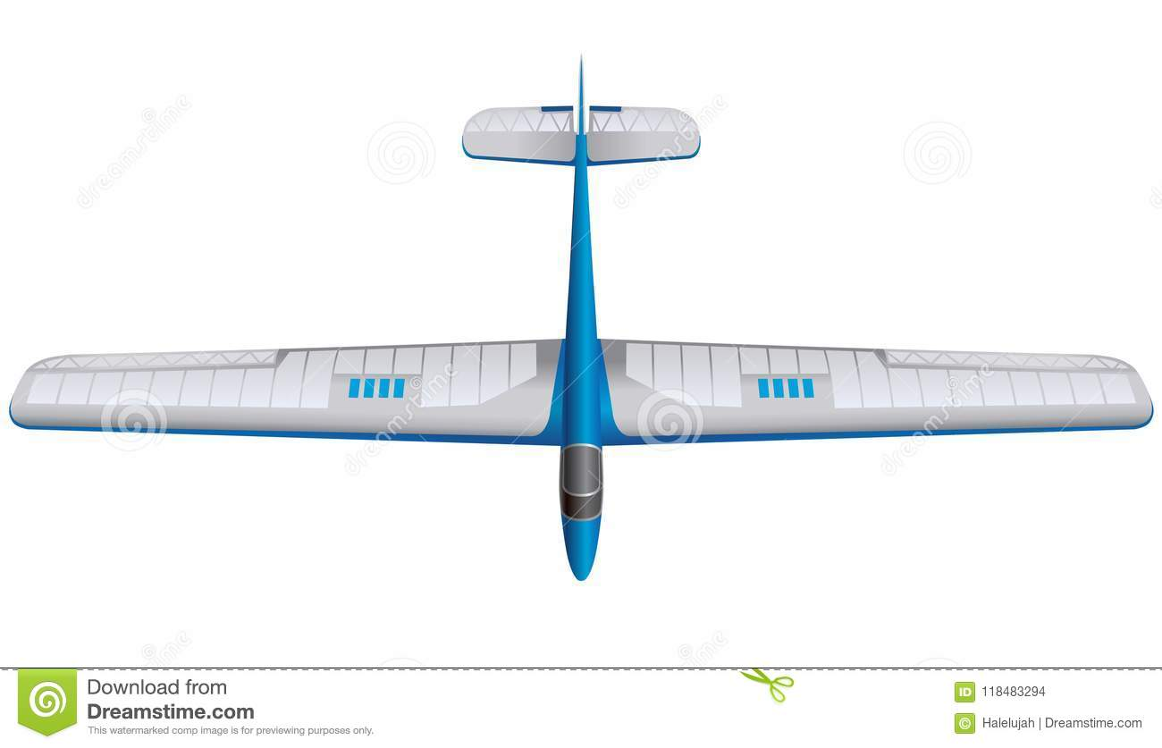 Blue Glider Model, Ground Plan Stock Vector - Illustration