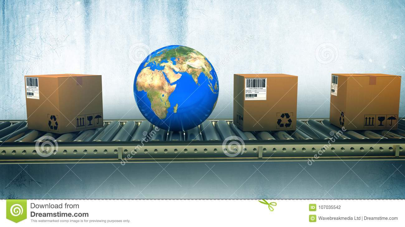 Composite image of blue globe and boxes on conveyor belt