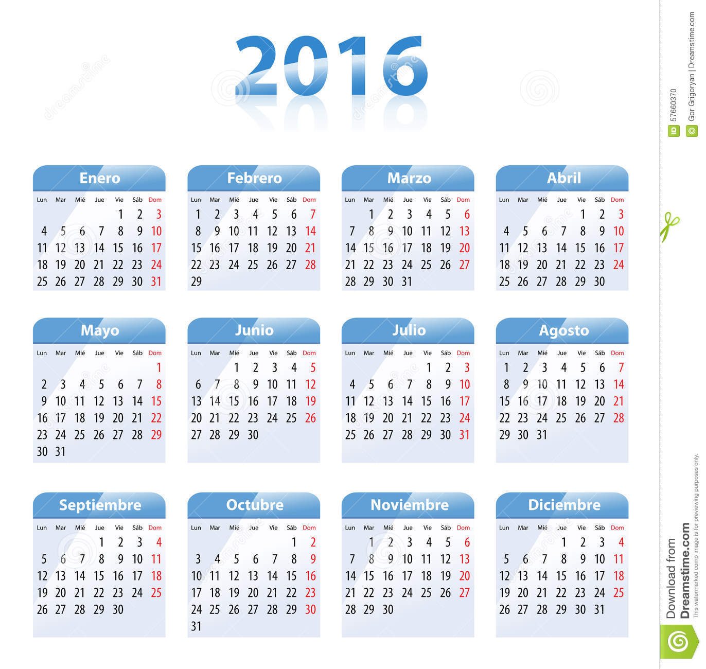 Blue glossy calendar for 2016 in Spanish. Mondays first. Flat design ...
