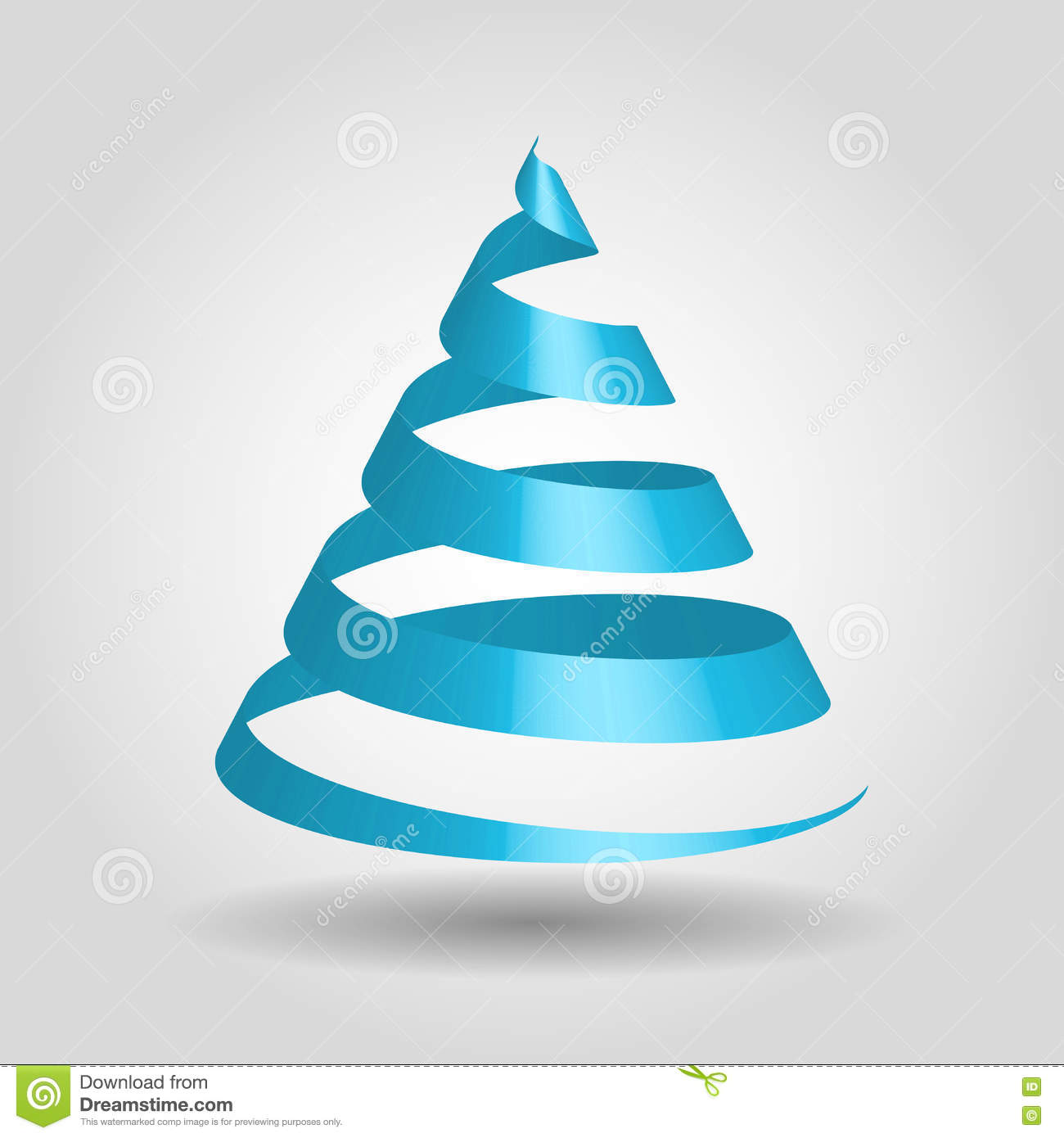 Blue Glossy Ribbon In A Shape Of Christmas Tree Stock Vector Illustration Of Curve Ribbon 81079067