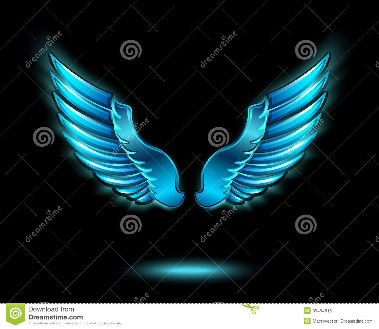 Blue glowing angel wings with metal shine and shadow symbol vector ...