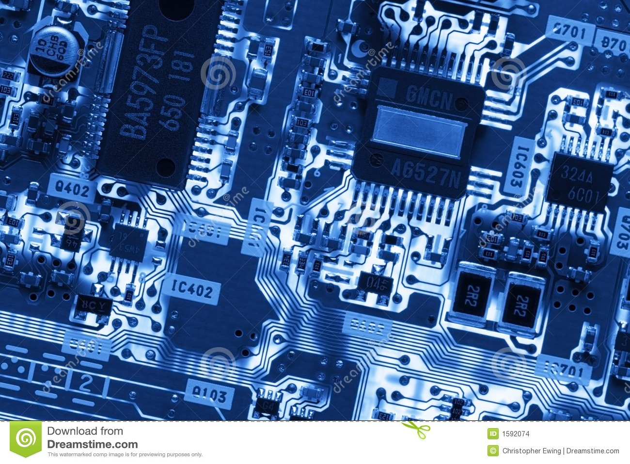 Blue Glowing Circuit Board Stock Images Image 1592074