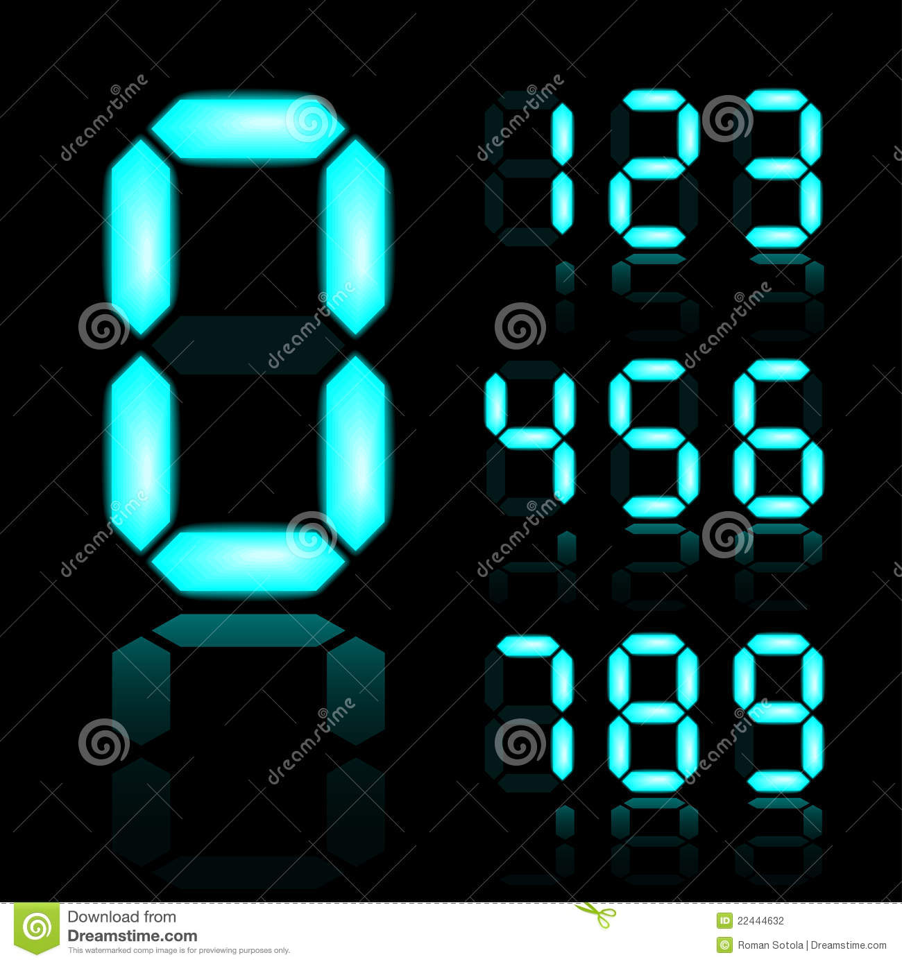 blue glowing digital numbers stock photography