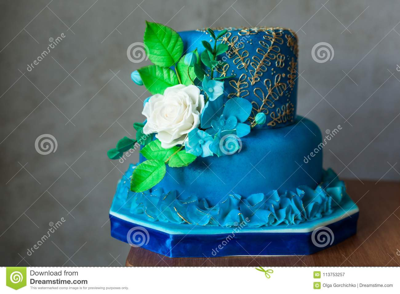 Outstanding Blue And Gold Birthday Or Wedding Cake Stock Image Image Of Funny Birthday Cards Online Alyptdamsfinfo