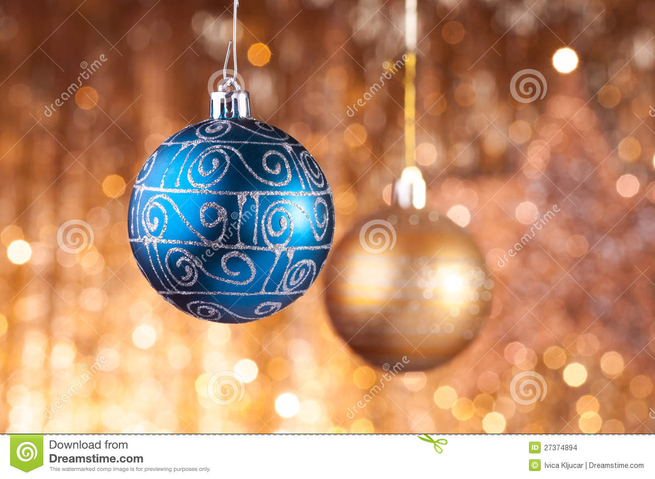 Blue and gold christmas baubles stock images image 27374894 for Blue and gold christmas