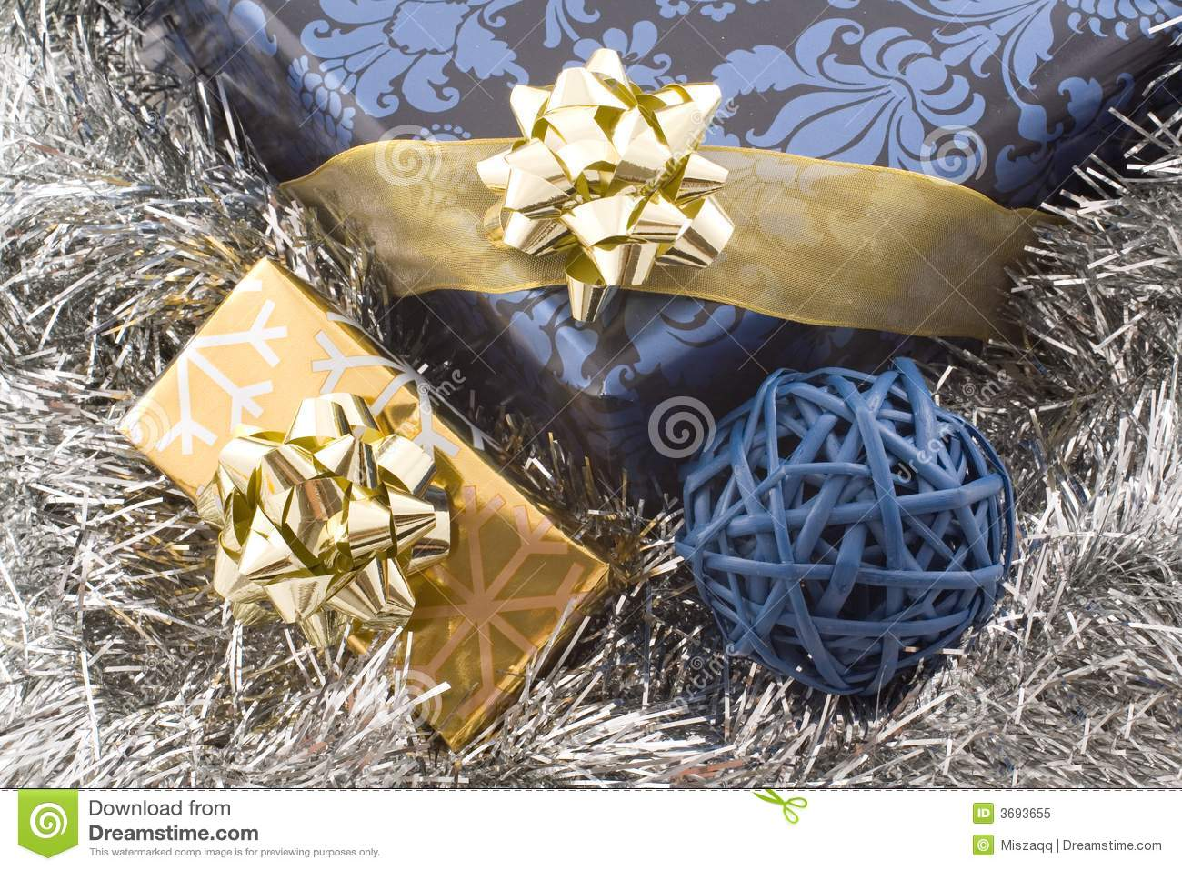 Blue and gold christmas gifts royalty free stock photo for Blue and gold christmas