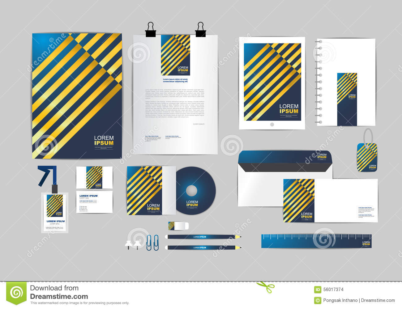 blue and gold corporate identity template for your