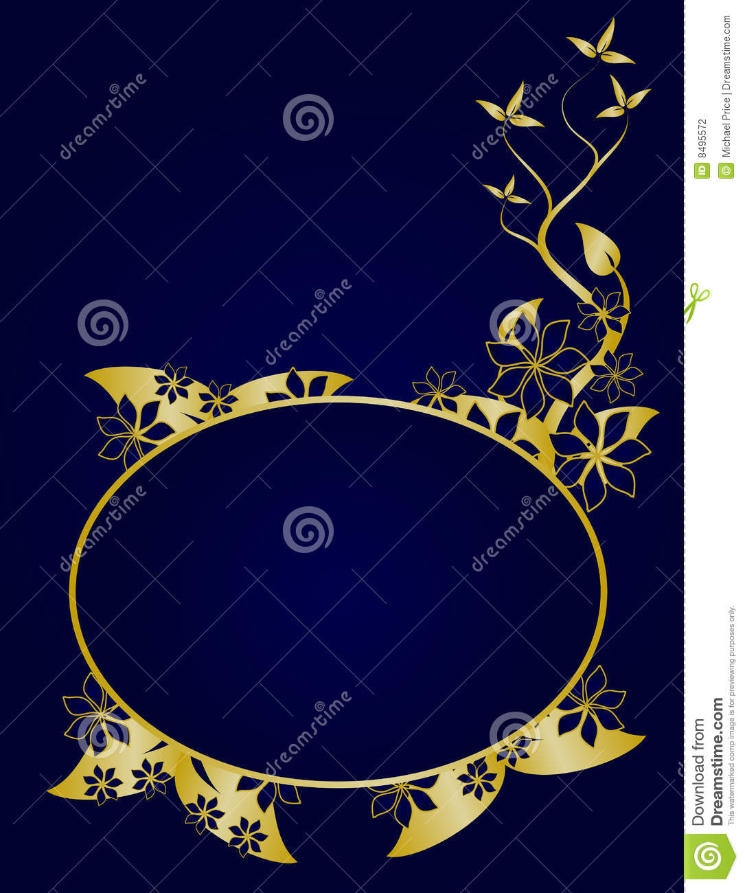 Blue And Gold Floral Background Stock Vector