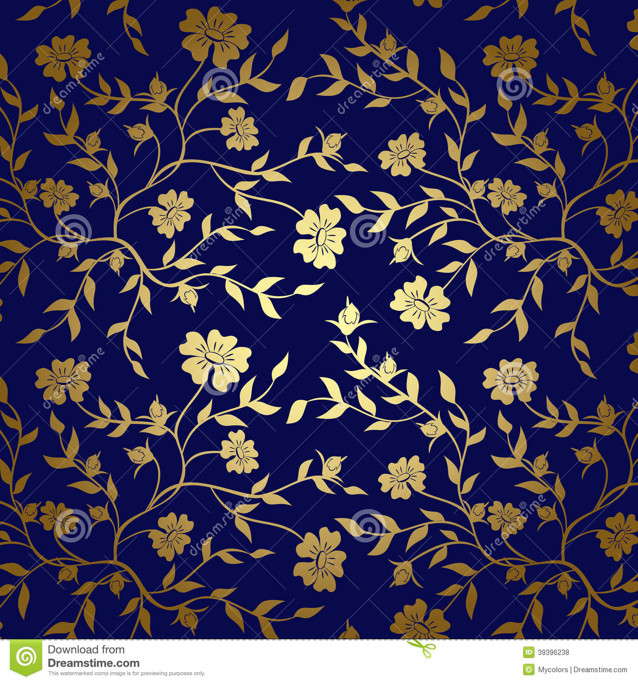 blue gold floral texture background vector stock vector