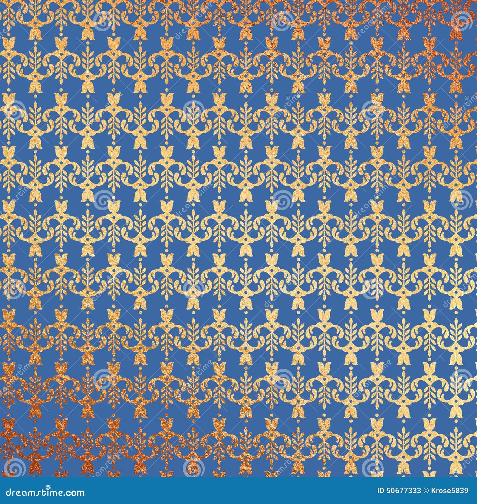 Blue And Gold Foil Floral Background
