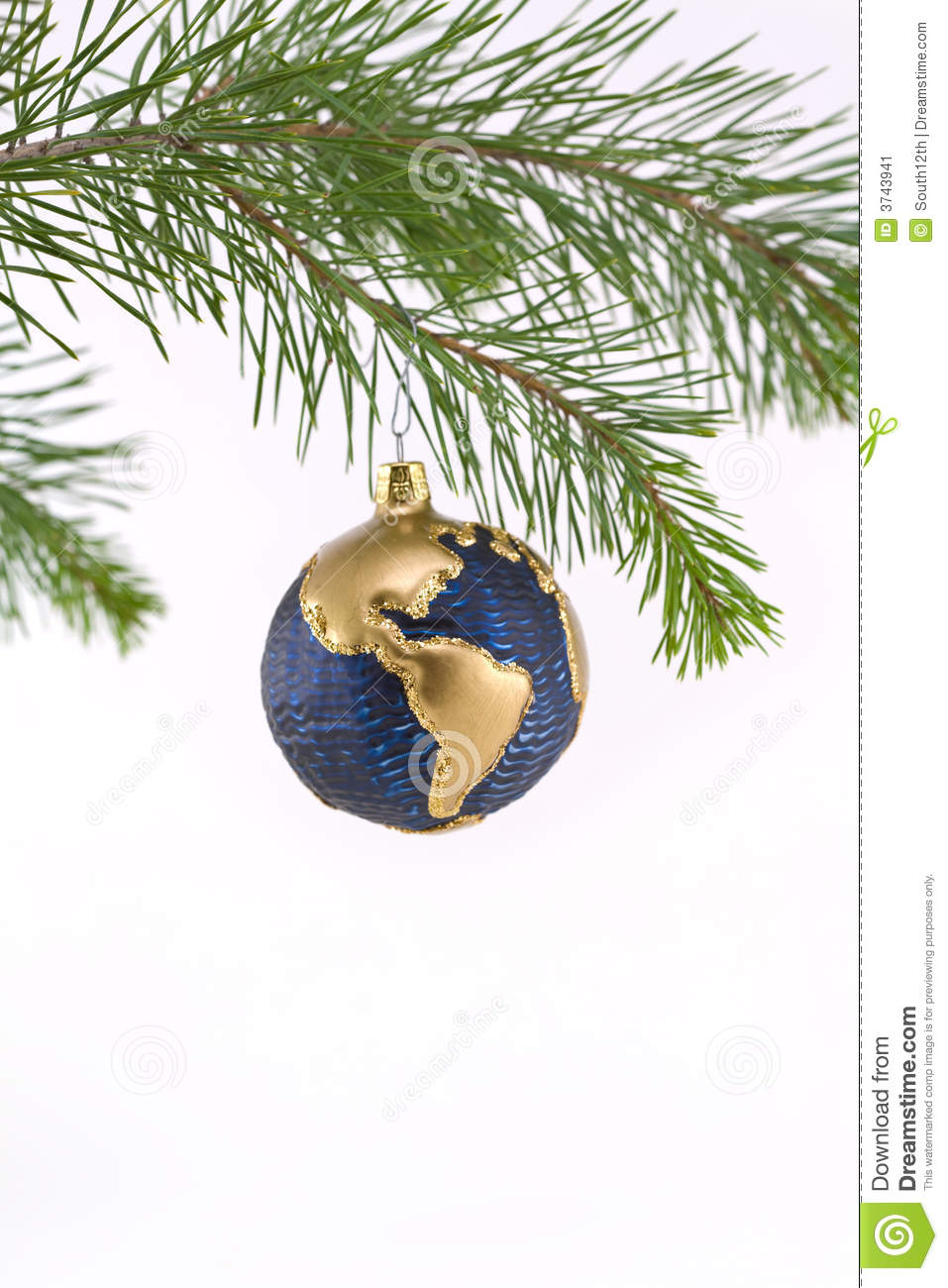 Blue And Gold Globe Christmas Ornament Showing Nor Stock ...