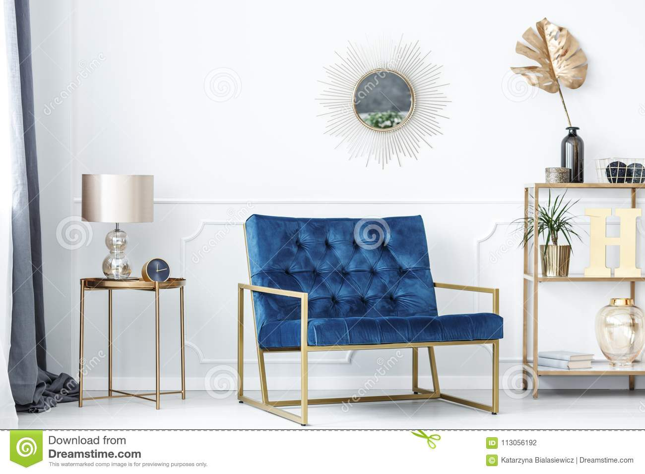 Blue And Gold Living Room Stock Photo Image Of Glamor 113056192