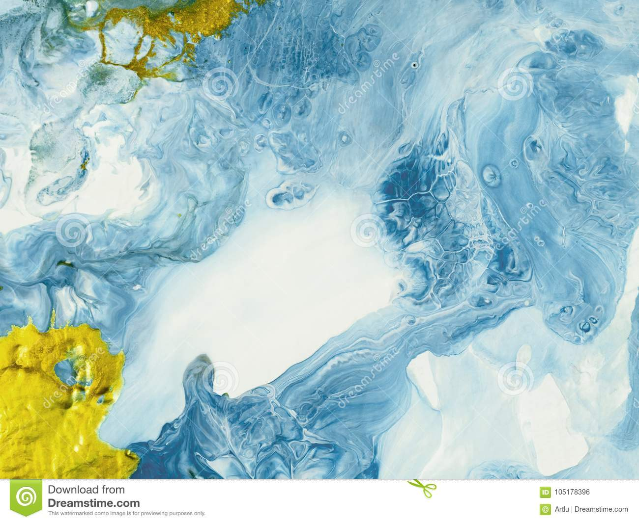 Blue And Gold Marble Abstract Hand Painted Background Stock Illustration Illustration Of Modern Fluid 105178396