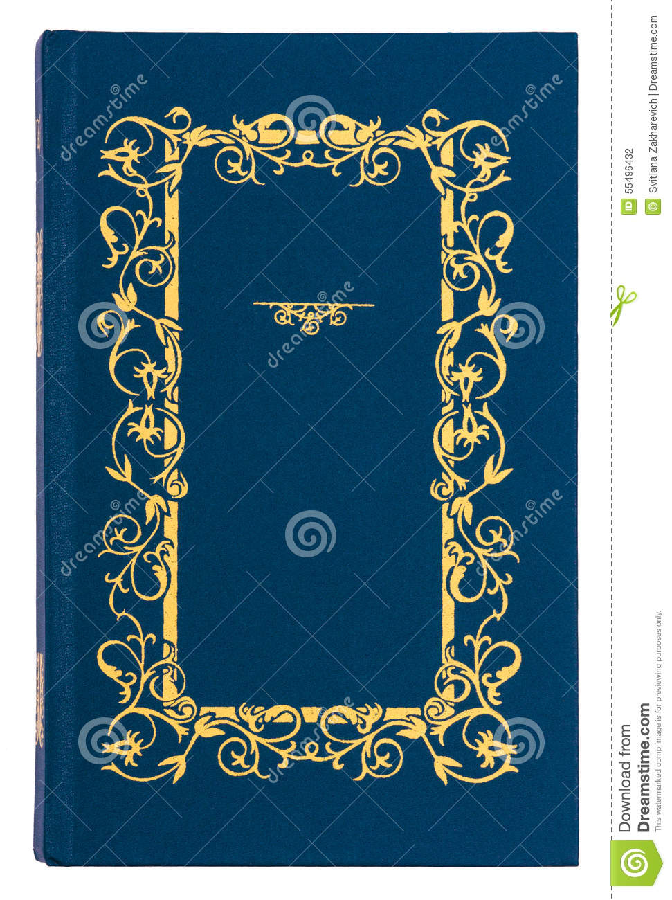 Book Cover White Background : Blue with gold pattern vintage book cover stock