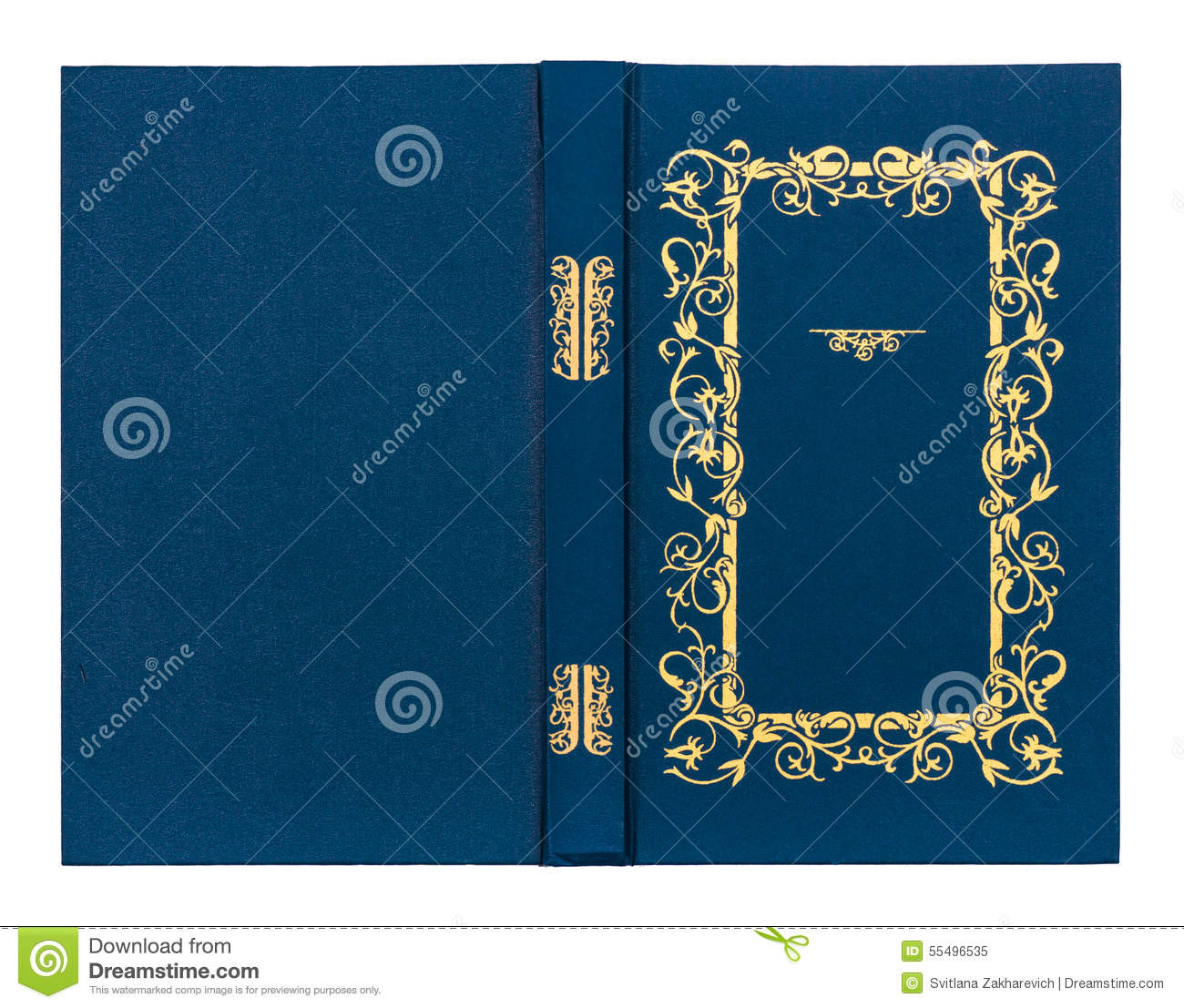 Blue Book Cover Background : Blue with gold pattern vintage book cover stock
