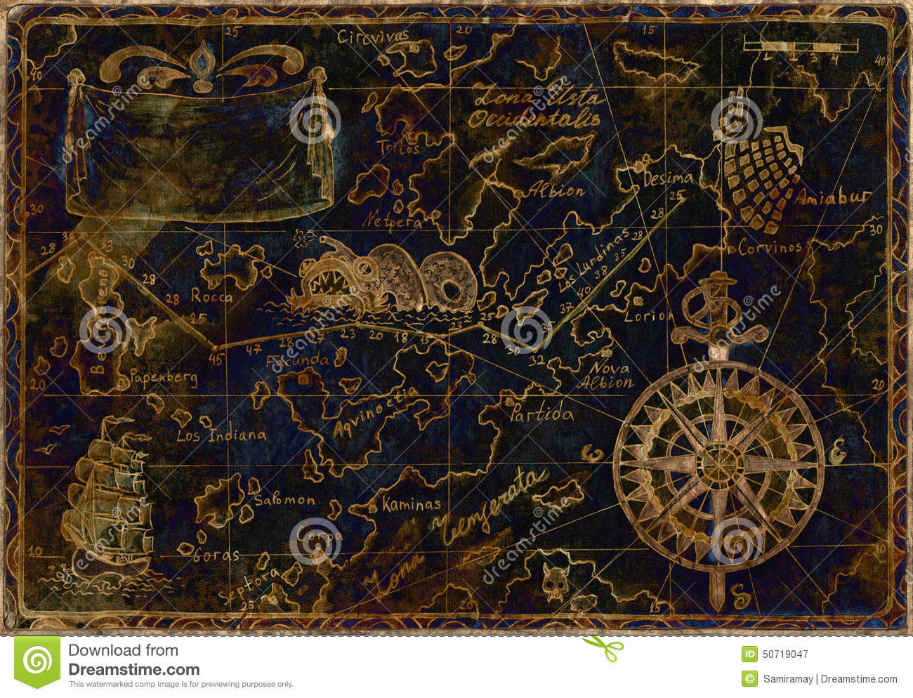 Hand drawn illustration of old pirate map with gold silhouettes on ...