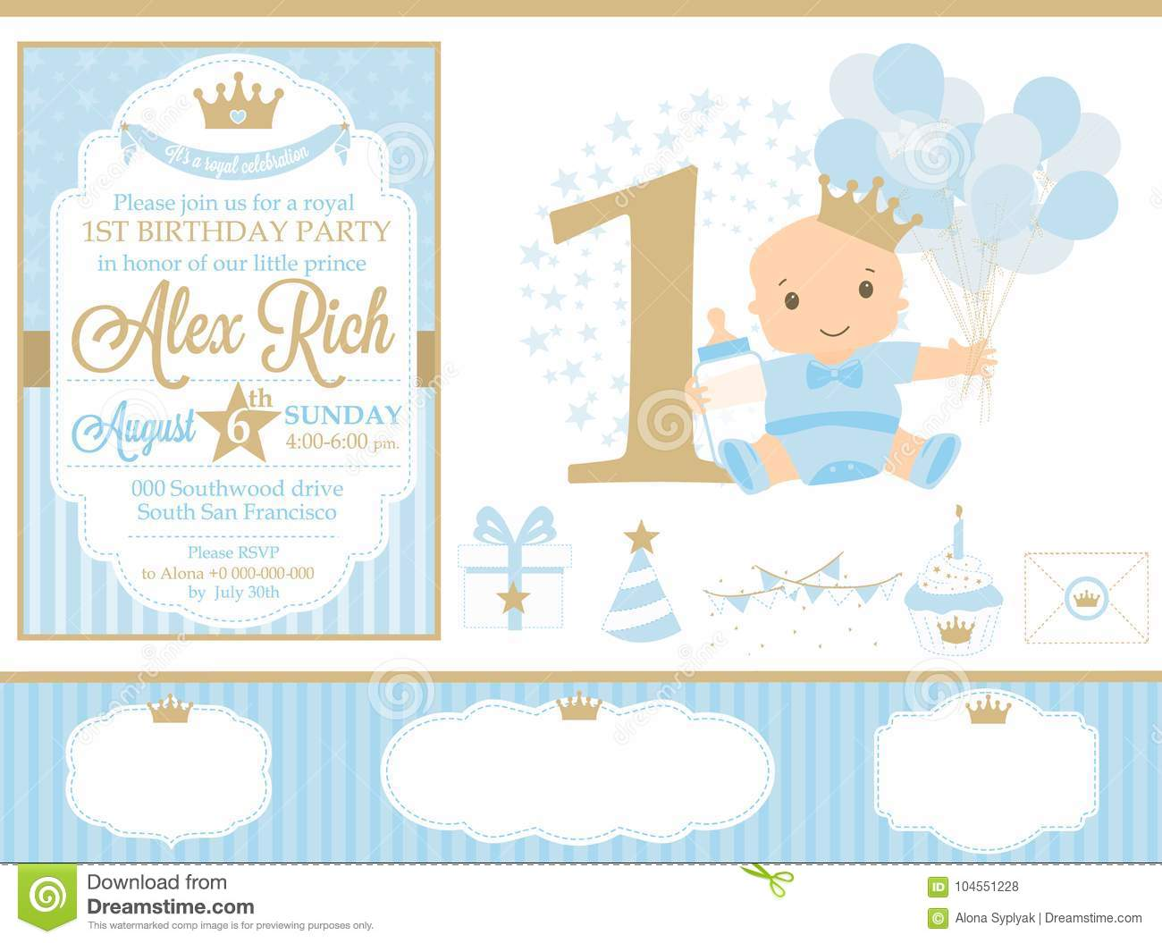 Blue And Gold Prince Party Decor. Cute Happy Birthday Card Template ...