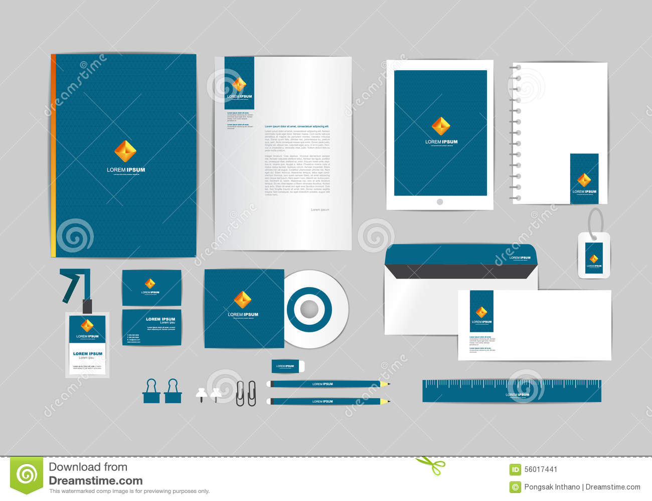 Blue Gold And Square Corporate Identity Template For Your