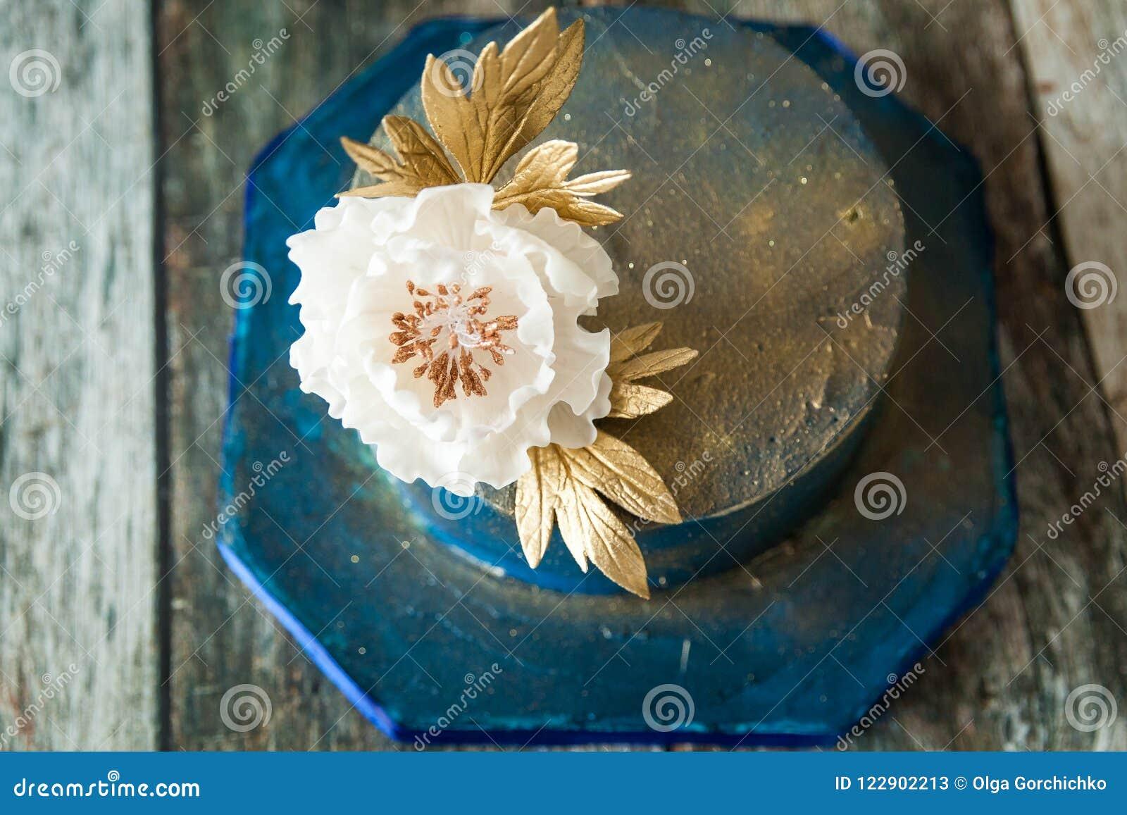 Blue And Gold Wedding Cake Stock Image Image Of Festive 122902213